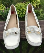 New Michael Kors Chalk Patent Leather Loafers Driving Mocs Size 10 New
