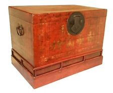 New listing Antique Chinese Hand Painted Red Trunk (2643), Circa 1800-1849