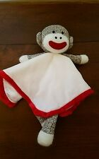 Baby Starters Cream Brown Red White Sock Monkey Security Blanket Lovey Boy Girl
