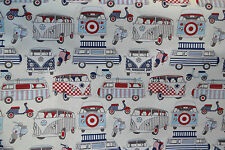 HAPPY CAMPER Candy 100% Cotton Lifestyle Fabric Fun Funky VW Camper Print Cheap