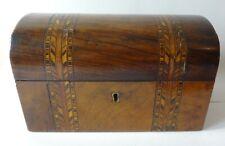 Victorian Walnut Tunbridge ware domed top TEA CADDY box with lids - nice quality