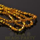 New Arrival 200pcs 4mm Faceted Bicone Loose Spacer Glass Beads Gold Yellow