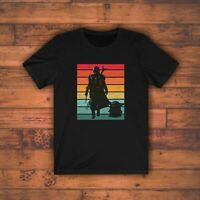 Star Wars The Mandalorian Mando The Child  Baby Yoda Retro Style T Shirt New