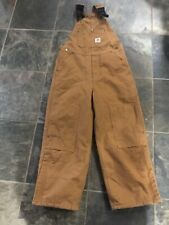 Youth CARHARTT QUILT Insulated Reinforced KNEE canvas Bib Overalls Brown SZ 10