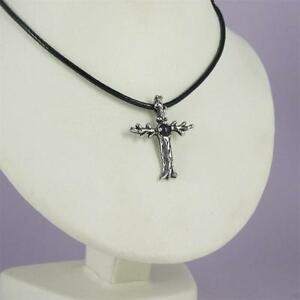 Tree Cross Pendant W Gemstone Solid 0.925 Sterling Silver Leather Cord Necklace