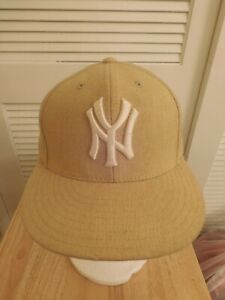 New York Yankees Mitchell and Ness Fitted Hat Tan 7 MLB