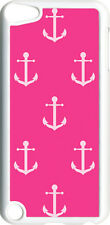 Fuschia Pink Anchor Design on iPod Touch 5th Gen 5G White TPU Case Cover