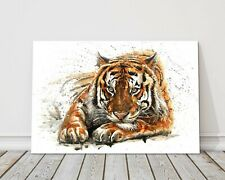 Bengal tiger watercolour paint splash animals canvas print framed picture art