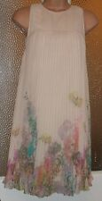 GORGEOUS LINED MEADOW PLEAT MULTI PRINT CHIFFON COCKTAIL DRESS TED BAKER 8 UK 1