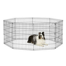 """New 30""""Tall Wire Fence Pens Dog Folding Exercise Yard Panel Cages Play Pen Black"""