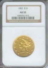 1852 1852-P $10 Liberty Eagle Ngc Certified Au55 Au-55 Scarce