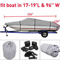 "17-19 Ft Waterproof Trailerable V-Hull Boat Cover 95"" Beam Heavy Duty Fabric SG"