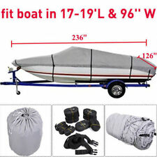 """17-19 Ft Waterproof Trailerable V-Hull Boat Cover 95"""" Beam Heavy Duty Fabric EP!"""