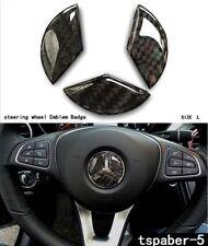 49 mm Carbon Fiber Steering Wheel Emblem Badge Cover Decal Sticker Mercedes Benz
