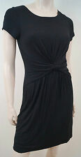 VELVET Black Jersey Stretch Ruched Waist Pleated Front Short Sleeve Dress Sz:S