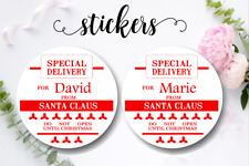 12 White Round Stickers SPECIAL DELIVERY SANTA Christmas Favour Personalised 5cm