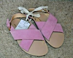 J. Crew Crewcuts Girl's Pink Suede Criss Cross Sandal Shoes 12 Youth NWT