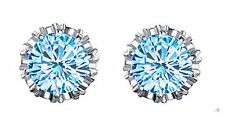 14K White Gold 2ct TGW Blue Topaz Stud Earrings