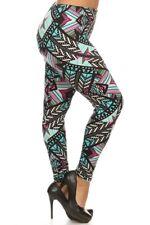 Plus Size Leggings XL-2X Fleece Lined Polyester Spandex Multi Color Pastel Frost