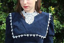 Gunne Sax vintage Edwardian Victorian dress blue corduroy size 3
