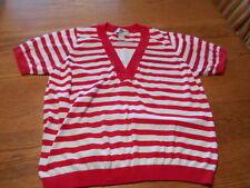 Cathy Daniels Red& White striped Short Sleeved Sweater womens's sz 1X