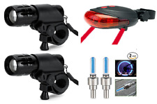 two front lights & rear laser 5 led & wheel bike lights set for bicycles
