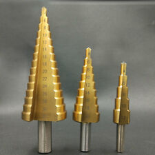 3pcs Step Drill Bit Unibit Titanium Industrial Reamer Inner Triangle Coated Kit