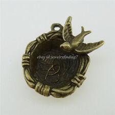 12841 10PCS Alloy Charms Swallow Bird Nest Pendant Vintage Bronze Tone