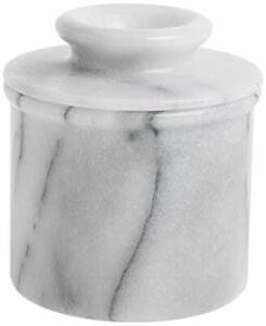Norpro Marble Butter Crock Butter Keeper Dish Softened Butter Off White