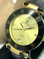 Jacques Du Manoir Gold Tone Black Strap Swiss Roman Numerals 33mm Womens Watch