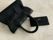 GUCCI GG Hand Tote Bag Purse &Wallet Black Canvas Leather Authentic 2000-2001