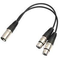EE_ 0.3m XLR Y Splitter Cable 3 Pin 1 Male to 2 Female Convertor Adapter Cable B
