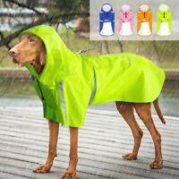 Waterproof Dog Raincoat Legs Small Large Reflective Rainwear with Hood Yellow