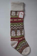 "Pottery Barn Classic Fair Isle Stocking Snowman Christmas 27""  #1"