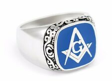 Masonic Sterling Silver Ring with Blue Square & Compass | Freemasonry Gifts
