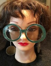 Imperfect 1960's Vintage Mod Sunglasses, Earrings on Chain Dark Green, Gold Ears