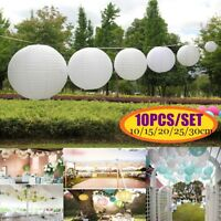 10Pcs White Round Paper Lantern Wedding Hanging Lamp Shade Party Ceiling Decor