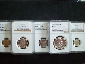 """1956, 5 Piece Franklin Proof Set, Certified """"Proof 67 & 67 Cameo""""  By NGC  WOW!!"""