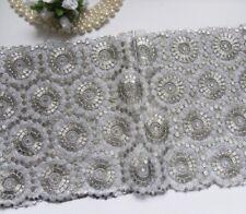"8"" Victorian Metallic Silver / Grey Silver Embroidered Lace Trim-Per Yard-T599"