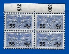 Nazi Germany Third 3rd Reich revenue stamps block Eagle over Swastika Ww2 Mnh B