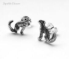 ladies chidrens 925 Sterling silver Howling wolf Earrings studs