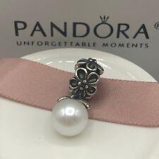 NEW! Authentic Pandora Garden Odyssey White Pearl & CZ Dangle Charm #790858P
