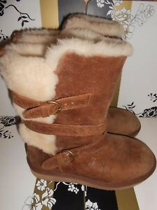 UGG AUSTRALIA BROWN LEATHER BOOTS WITH BUCKLES UK SIZE 4.5 VERY GOOD CONDITION