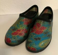 Sloggers Blue Floral Womens Sz 8 38 Rain Gardening Shoes Waterproof Rubber Mules