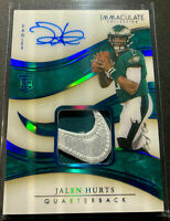 2020 IMMACULATE JALEN HURTS 💎TRUE 1/1 RPA 💎 NIKE SWOOSH ON-CARD AUTO 🦅
