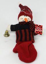 "PLUSH SNOWMAN IN MITTEN HOLDING BELL ~ 12"" Mantel/Hanger Christmas/Holiday Decor"