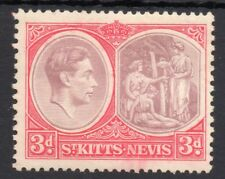 ST.KITTS-NEVIS King George VI 1938-50 3d. Brown-Purple & Carmine-Red SG 73a MINT