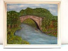 Original Oil Painting BRIG OF BALGOWNIE ABERDEEN SCOTLAND 17.75 H X 21.75