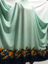 *New*Crinkle Polyester Mint Floral Border Print Dress/Crafts Fabric*FREE P&P*