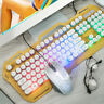 Keyboard and Mouse Desktop Combo Set Black & White Mechanical Backlight Wired